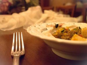 Capesante con zucchine peperoni e funghi